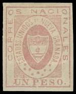 1861 1p Rose United States of New Granada imperf with 4 wide margins unused, without gum. 1971 Behr photo certificate. Sg 15. Catalogue Value £1,200.00.