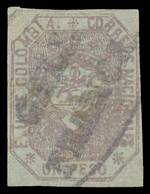 1862 1p Lilac on Bluish imperf fine used with 4 margins, close at right. Sg 20. Catalogue Value £2,250.00.