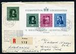 1949 Liechtenstein Philatelic Exhibition M/S, plus 10r Green painting issue on Registered cover, cancelled with special postmark on the last day of the Exhibition. Sg MS279a. Catalogue Value £225.00++.
