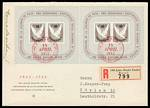 1945 Basel Dove miniature sheets (2), on registered First Day Cover, cancelled with special postmarks and 1948 IMABA miniature sheet (plate no 9) on cover cancelled with special exhibition cancellation. Sg MS446b and MS498a. Catalogue Value as used stamps £400.00.