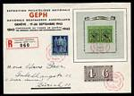 1943 5¢ + 5¢ Black and Green Geneva Philatelic Exhibition miniature sheet on Registered cover cancelled with exhibition special postmark, 1944 Air set on cover flown from Geneva to Zurich, 1946 1f50 Red and Grey Air stamp on cover flown from Locano to Lausanne, 1947 2f50 Air issue flown on first Geneva to New York flight (2) and 1949 1f50 Purple and Yellow Air issue (2) on covers carried on La Chaux De-Fonds to Lugano and Lugaano to St. Gallen flights. Some faults. Catalogue Value £339.00.