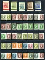 Collection of 404 Proofs, Essays and Colour Trials of earlier issues on card and various types of paper, in both issued and unissued colours, with a wide range of shades and some modest duplication. Also 1892-1898 set O/P Muestra (Specimen) MLH.Interesting lot.