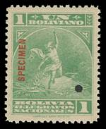 1906 Unissued Telegraph stamp set of 7 O/P Specimen with small punch hole, as issued. Rare. Hiscocks 1-7.