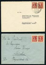 1946 Covers, each stamped with two 12pf Red Schiller issues addressed to Munich with a range of interesting postmarks. 20 covers.