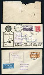 Accumulation of 565 FDC's, Souvenir covers, Postcards, Airmail covers and commercial covers from early to modern, including small range of Australian, Great Britain and Pacific Island issues. Noted 1d Universal on cover with Burke's Pass 7 JE 10 coin date stamp on reverse (Rated 4), 1932 Auckland to Dargaville, 1932 Okuru to Hokitika and 1933 Auckland to Invercargill Air Mail covers with cachets and 1934 Kaitaia to Sydney Trans Tasman Flight cover, all stamped with Air Mail issues. Usual variable condition.
