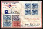 1931 Imperial Airways Second Experimental Air Mail intermediate registered Flight cover from Australia to Singapore, signed by pilot Hudson Fysh. Stamped with 1928 3d Blue Kookaburra M/S (red registration line through selvedge) and 1931 2d, 3d (2) an 6d Kingsford Smith. AAMC 203a.