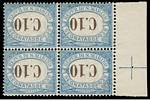 1925 10¢ and 50¢ Blue and Brown Postage Dues with Inverted Value in MUH marginal blocks of 4. The 50¢ value is a corner block with additional variety,