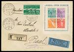 1934 NABA National Philatelic Exhibition miniature sheet on Registered Air Mail cover to Basel, cancelled with special Exhibition cancel, on the last day of the exhibition, together with an exhibition registration label. Additional 1932 15¢ Disarmament Conference stamp. Sg MS357. Catalogue Value £1,000.00++.