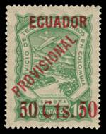 1928 Ecuador 50 Cts. 50 Provisional overprint error on 10c SCADTA issue of Colombia MUH and well centered. Sg 6. Catalogue Value £200.00.