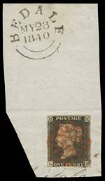 1840 1d Black Queen Victoria imperf from Plate No 3 fine used on piece, with 4 margins and Red Maltese Cross cancellation. Bedale C.D.S. backstamp dated 28th May, 1840. Small ink mark from addressing on stamp. Corner letters L.G. Sg 2. Catalogue Value £550.00.
