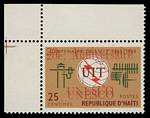 1965 25¢ UNESCO issue with double overprint MLH. Rare and spectacular. Sg 946.