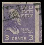 1938 3¢ Deep Violet Jefferson imperforate single, with part of the adjoining stamp FU. Scott 807c. Imperforate pairs catalogue at US$2,750.00.