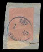 1857 3d Rose Embossed imperf FU on piece. Sg 4. Catalogue Value £400.00.