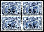 1931 2d and 3d Kingsford Smith O/P OS blocks of 4 MUH. 3d value well centered. 2016 Ceremuga certificate states genuine in all respects.