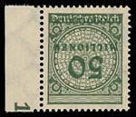 1923 50 Million Mark Grey-Green inflation issue with Inverted Value MUH, well centered marginal example. Mi 321AWK. Catalogue Value Euro150.00.