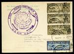 1929 First Round the World Zeppelin Flight card from Lakehurst to Friedrichshafen with official dispatch cachet, addressed to Czechoslovakia. Fine condition.