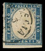 1861 20¢ Grey-Blue King Victor Emmanuel II with error, inverted Embossing, fine used with 2 margins, slightly cut into at top. A small tear in the lower margin, does not intrude into the design. 2010 Raybaudi photo certificate. Sassone 15Dc. Sg 47a. Catalogue Value £2,750.00.
