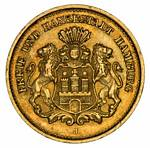 1877J 5 Mark Gold coin VF. Contains 1.991 grams of 0.9000 Gold, giving an actual gold content of .0576oz.
