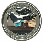 2002 Battle of the Coral Sea 10oz coloured Silver proof coin in presentation case with certificate, issued by Perth Mint. Slightly faulty case.