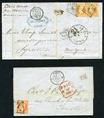 Selection of 8 Entires, a cover and a postal card from 1855-1879, stamped with Ceres, Napoleon III and Peace and Commerce issues, with interesting range of postal markings and numeral cancellations. Noted 1855 Entire to Syracuse, New York endorsed Etats Unis per steamer American, franked with two 40c Orange Napoleon III, tied by 78 (Angers) lozenge cancels.