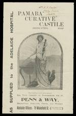 Attractive early flyer advertisement for PAMABA Curative Castile Soap, produced by Penn and Way. The reverse side shows a photograph of the 6 signatures of an 1839 agreement by European leaders and states it was the tearing up of this scrap of paper by the German Chancellor, that led to the Great War of 1914-1915. A name and address is written at the top, on the front.
