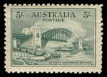 1932 5/- Green Sydney Harbour Bridge MUH and well centered, with slight gum disturbance and 2 bluntish perfs.