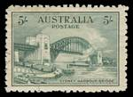 1932 Sydney Harbor Bridge set including OS O/P pair in fine CTO condition, with gum. 5/- value is well centered.