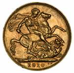 1910 Perth Mint KEVII Gold Sovereign VF.