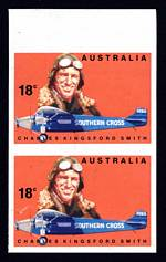 1978 18¢ Kingsford Smith imperforate pair from top of sheet with light creasing. ACSC 792bd.