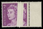 1971 7¢ Purple QEII with large 5.5mm wide void caused by pre-printing paper fold MUH. Spectacular.