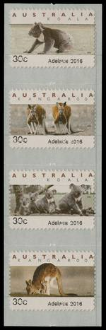 2016 30¢ Adelaide Emergency Counter Printed Stamp Type B set of 6 with ghost print. All 6 stamps have small parts of the 30¢ Adelaide 2016 print missing, where there has been an inverted albino print of 30¢ Adelaide 2016.