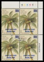 1990-91 Provisional overprints set of 8 in MUH blocks of 4, including $5.00 Mainland Airmail and 90¢ Coconut Official CTO with gum. ASC 140a, 140b, 141a, 144a, 147a, 148a, 182a and 186a. Retail $1,000.00.