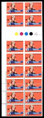 1978 18¢ Kingsford Smith vertical gutter block of 24, eight units imperforate, two units partly imperforate and two units with double perforations MUH. Folded through gutter with colour control circle's from layout 1, sheet A. Similar listing to ACSC 792ba. Catalogue Value $1,500.00.
