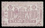 1884 £10 Mauve Stamp Duty issue with cleaned fiscal cancel. Attractive.