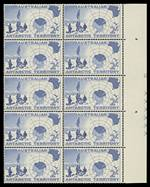 1957 2/- Map marginal block of 10 showing large portion of Plate No 2, MVLH on top right unit and remaining units MUH. Rare, with only two or three examples recorded. ACSC AAT1z.