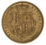 1886 Melbourne Mint Shield Reverse Queen Victoria Young Head Gold Half Sovereign EF.