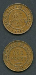 1925 Penny gF (2). Both with 6 pearls and centre diamond, one with broken leg of second