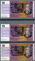 1967 $5.00 Coombs/Randall NAA First prefix gVF, plus additional general prefix and 1969 $5.00 Phillips/Randall banknotes VF.