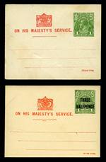 1924 1d Green Die 1 KGV and 1½d on 1d Green Die 1 KGV OHMS Postcards mint, both with printed messages on reverse regarding school committee meetings. ACSC PO6 and PO9. Catalogue Value $300.00.