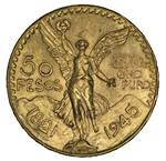 1945 50 Pesos Gold coin Unc. Contains 41.6666 grams of 0.9000 Gold, giving an actual gold content of 1.2056oz.