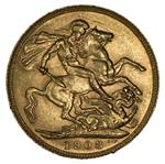 1908 Perth Mint KEVII Gold Sovereign EF.