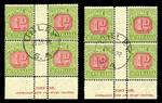1922 1d Carmine and Yellow Green Ash imprint block of 4 with one unit having variety