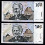 1985 $100.00 Johnston/Fraser consecutive pair of Paper Banknotes good EF. Serial Nos ZDG 446808 - ZDG 446809.
