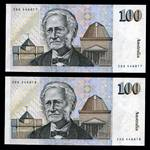 1985 $100.00 Johnston/Fraser consecutive pair of Paper Banknotes good EF. Serial Nos ZDG 446817 - ZDG 446818.