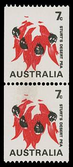1971 7¢ Sturt's Desert Pea coil pair with green and buff colours omitted MUH. Light transparent mark on lower unit. ACSC 535cg.