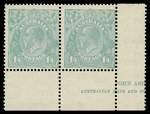 1932 1/4 Greenish Blue C of A Wmk KGV part Ash imprint pair centered to lower right. Left unit MVLH and right unit MUH.