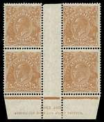 1930 5d Brown Small Multiple Wmk perf 13½ KGV Ash imprint block of 4, lightly hinged on top left unit and remaining units MUH. Slight perf separation at top. ACSC 126z.