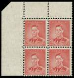 1937 2d Scarlet Die I KGVI full Plate No 1 upper left corner block of 4, lightly hinged on lower left unit and selvedge and remaining units MUH. Lower right unit with light crease. ACSC 187z. Catalogue Value $600.00.
