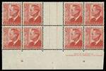1950 2½d Scarlet KGVI imprint gutter block of 8 showing large portion of Plate No 2 MUH. Slightest hinge trace in gutter. ACSC 249za. Catalogue Value $2,500.00.