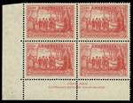1937 2d Scarlet NSW Sesquicentenary lower left full Plate No 1 imprint corner block of 4, hinged on top units and lower units MUH. ACSC 175za